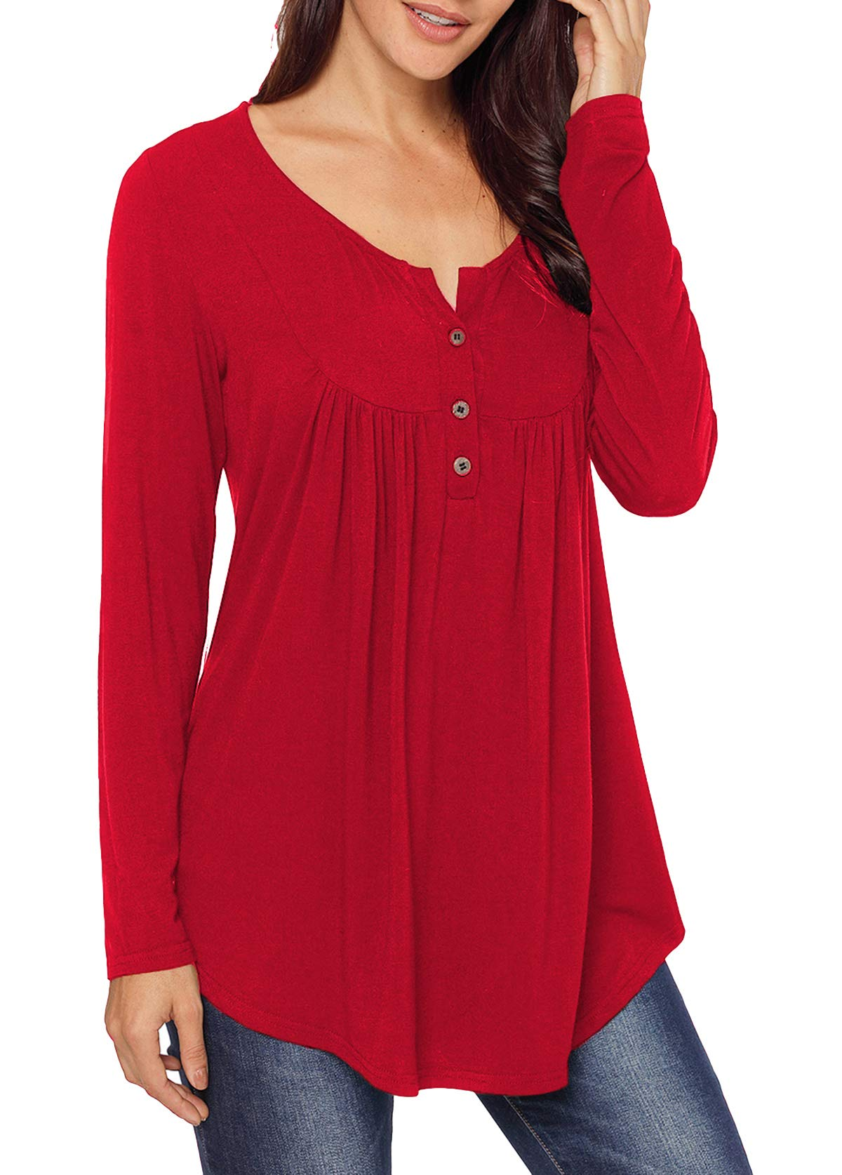 Mystry Zone Women's Casual Long Sleeve Henley Shirt Button Tunic Tops Blouse Red X-Large