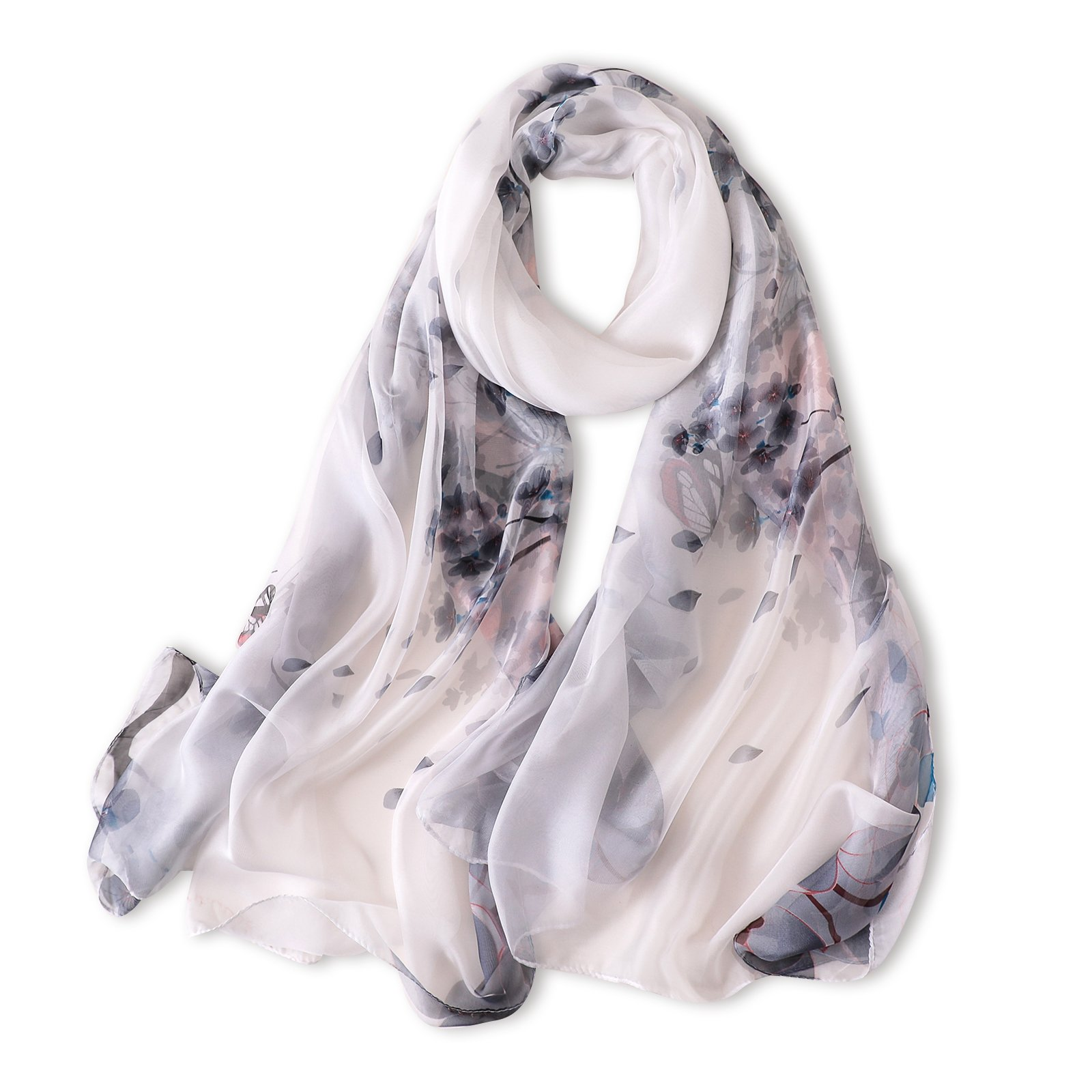 Women's Silk Feeling Scraf Ladys Summer Long Shawl Wrap Pashmina Beach Stoles Hijab (Pattern K C04)