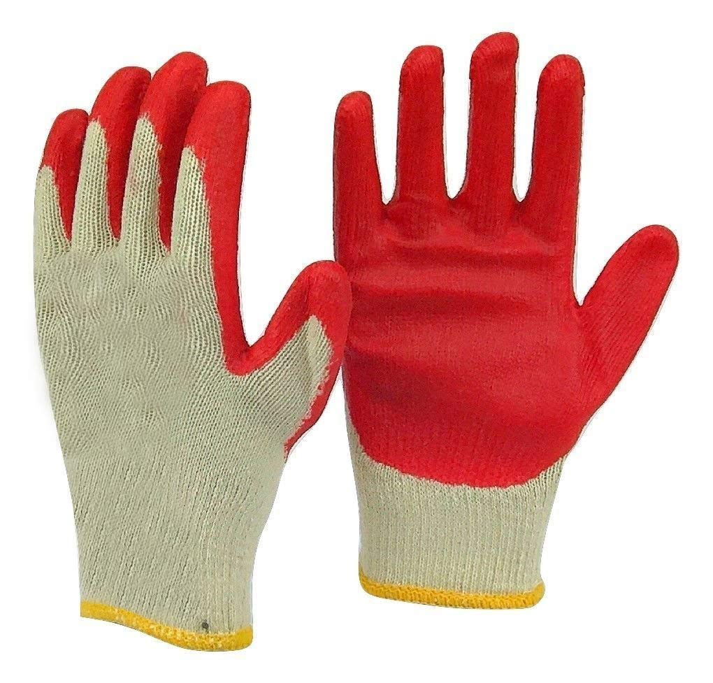 Safety Grip Protection Gloves Economical String Knit Latex Dipped Palm Gloves, Nitrile Coated Work Gloves for General Purpose, One Size, Red (100)