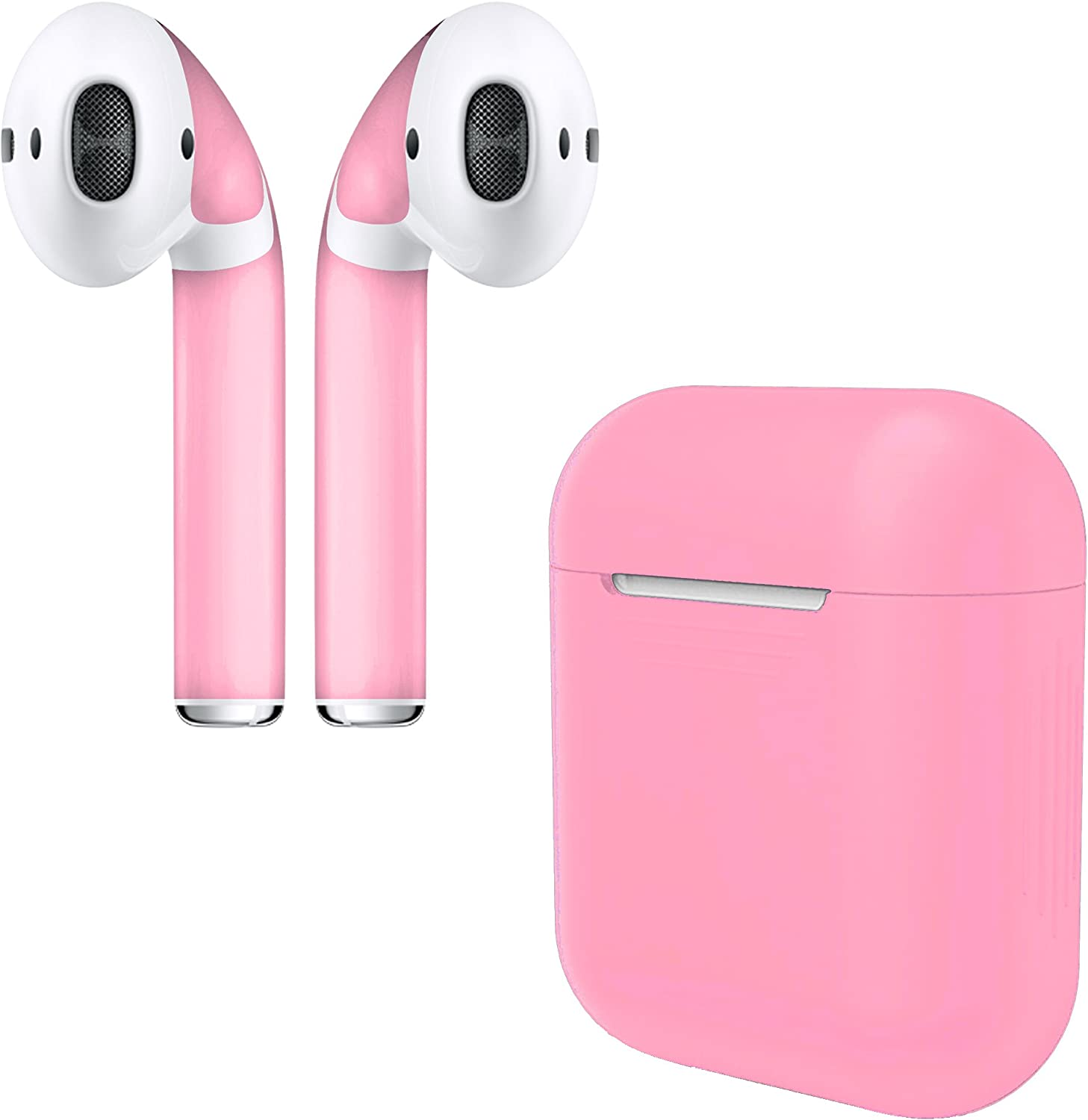 APSkins Silicone Case and Stylish Skins Compatible with Apple AirPod Accessories (Bubble Gum Pink Case & Skin)