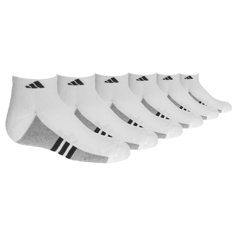 adidas Youth Cushioned 6pk Low Cut Sock, White/Black/Aluminum 2, 3Y-9
