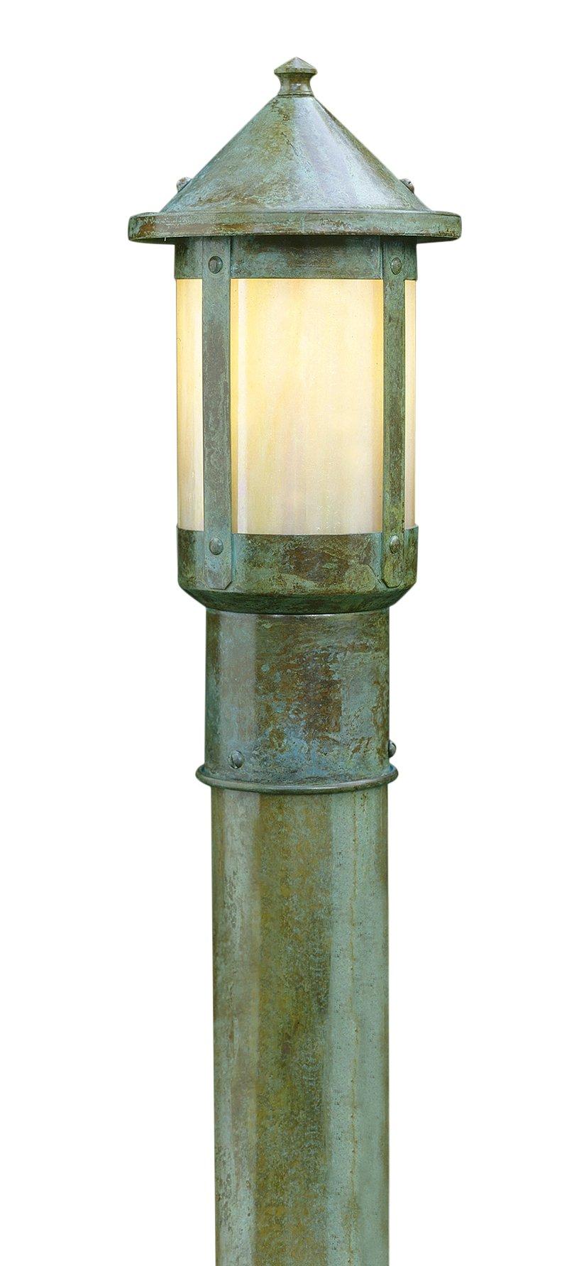 Arroyo Craftsman BP-6CR-AC Berkeley Post Mount, 6'', Antique Copper Metal Finish, Cream Glass by Arroyo Craftsman