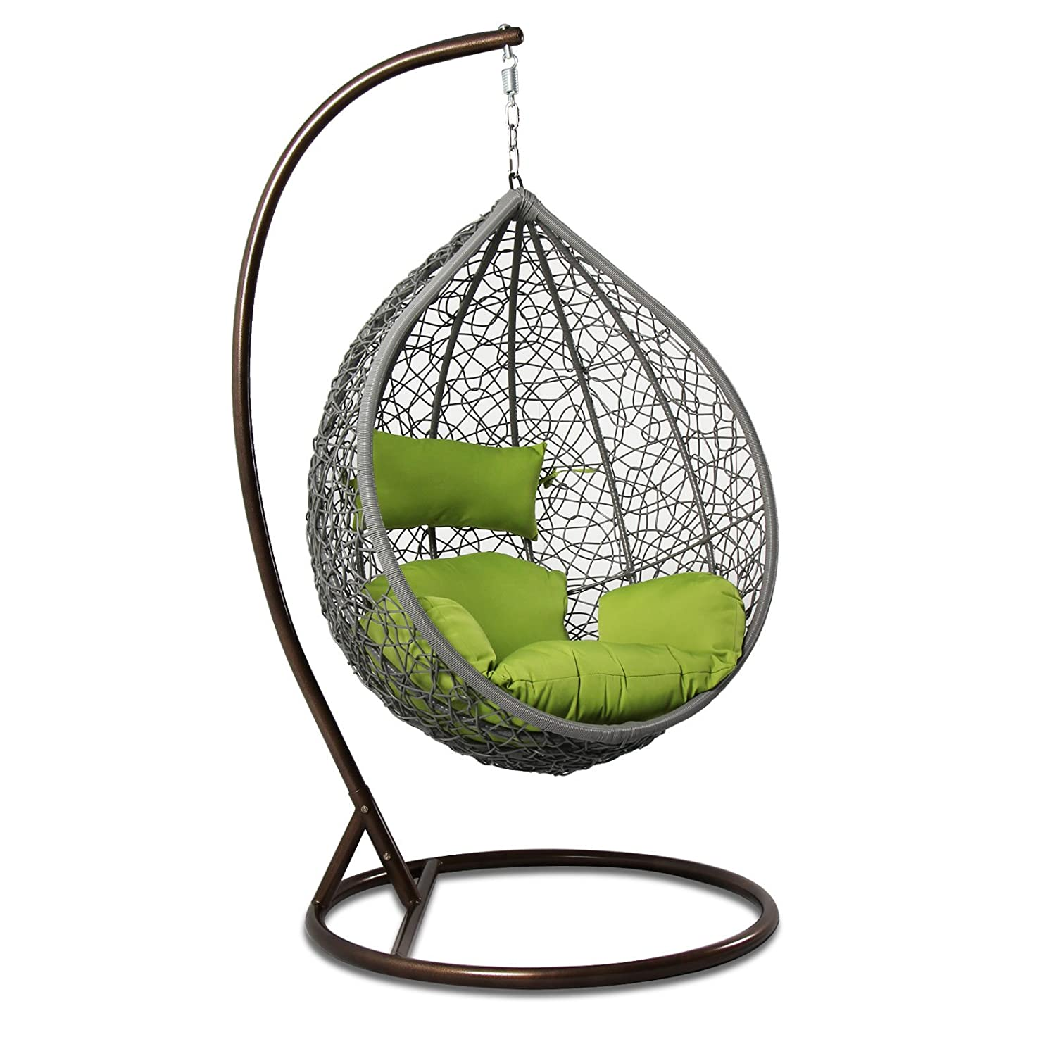 Island Gale Hanging Basket Chair Outdoor Front Porch Furniture with Stand and Cushion Grey Wicker, Lime Cushion