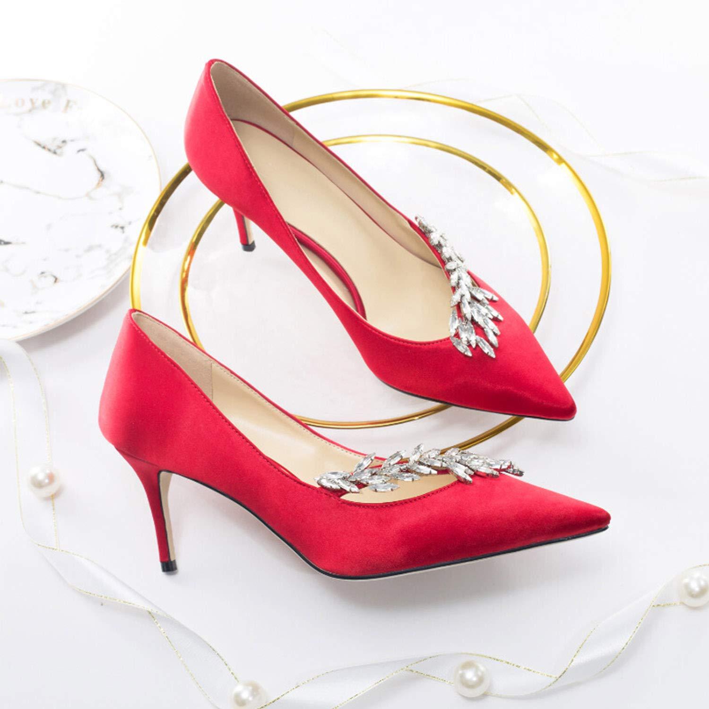 CJJC Frauen Reine Farbe Hochzeit Schuhe Mode Strass Spitze Zehe Zehe Zehe Satin High Heels Ideal für Braut Brautjungfer Zeremonie Party Datum Schuhe d4d9e6