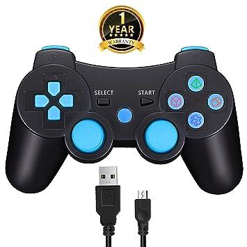 TPFOON Mando PS3 Inalámbrico Controller Bluetooth con Función ...