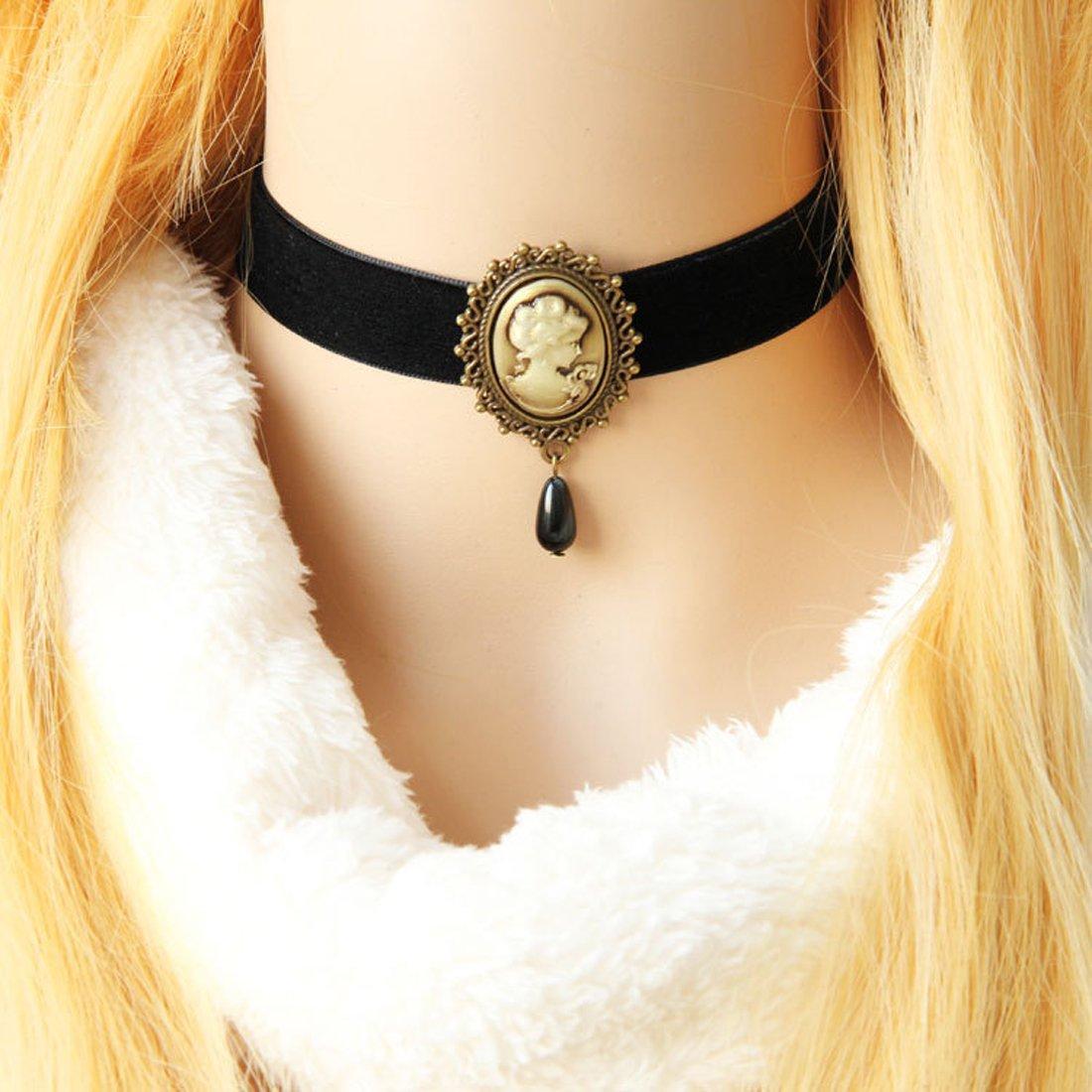 Black Velvet Choker Necklace Christmas Gothic Black Velvet Cameo Choker Necklace Lady Cameo Choker Gift for Her Victorian Choker