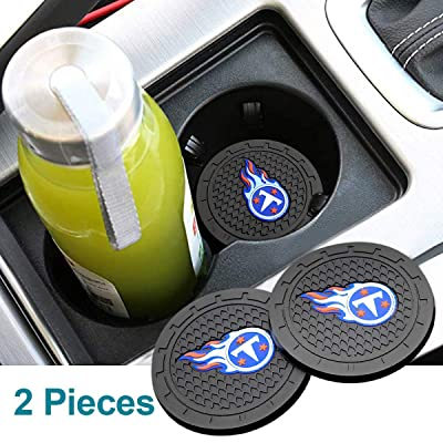 Auto Parts 2.75 Inch NFL Silicone Coasters Durable Anti Slip Silicone Cup Holder Mat,Car Cup Holder Coasters for NFL-American Football Team Car Interior Accessories Set of 2 (Tennessee Titans): Automotive