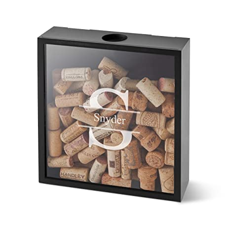 Personalized Wine Cork Display Shadow Box Stamped