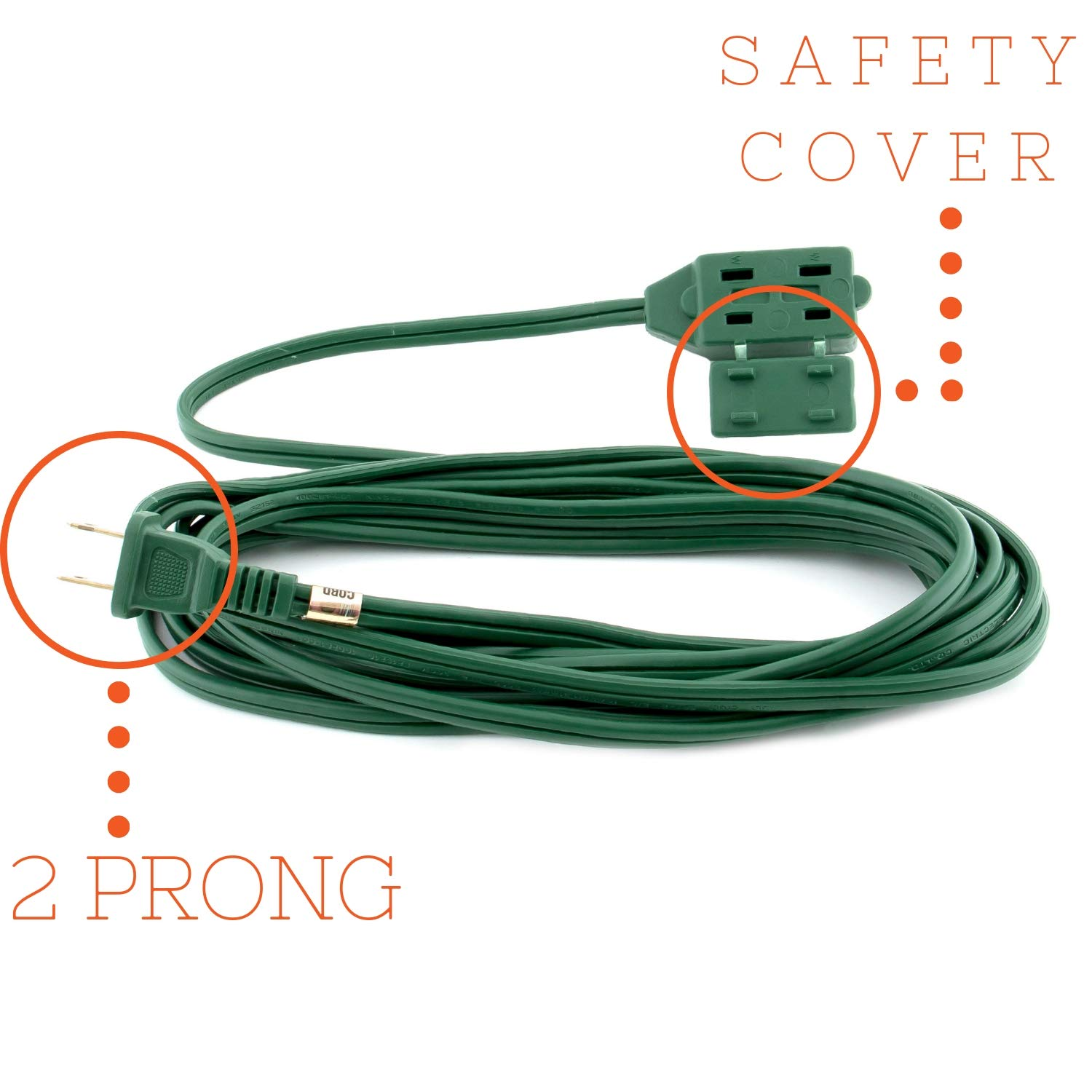 3 2-Prong Outlets 2 Pack CSA Certified Green 13 Amp 16 Gauge Polarized 10 FT Indoor Extension Cord