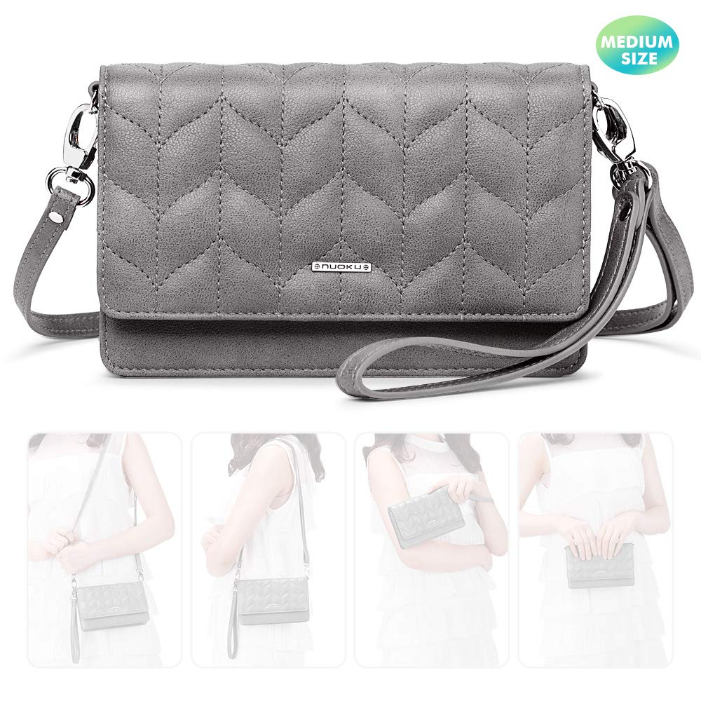 nuoku Women Small Crossbody Bag Cellphone Purse Wallet with RFID Card Slots 2 Strap Wristlet(M Size Gray) by nuoku