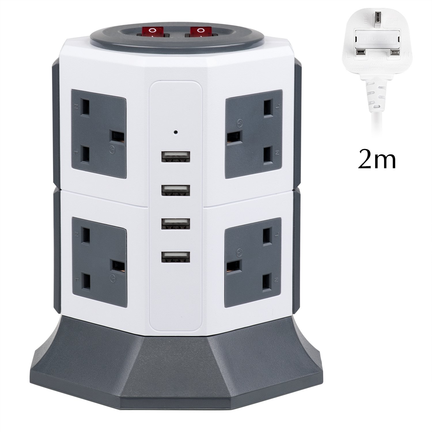 Extension Lead, PRITEK 8 Way Outlets Vertical Tower Power Strip with 4 Smart USB Charging Ports 10A/2500W 1000 Joules Surge Protector Extension Socket with 2m/6.5ft Extension Cord (Black)