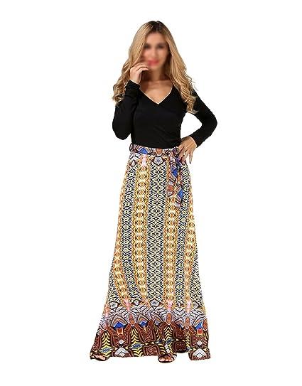 4cbbfc36747ee AiSi Grande Taille Robe Longue Imprimee Femme avec Manche Longue Col V  Taille XL