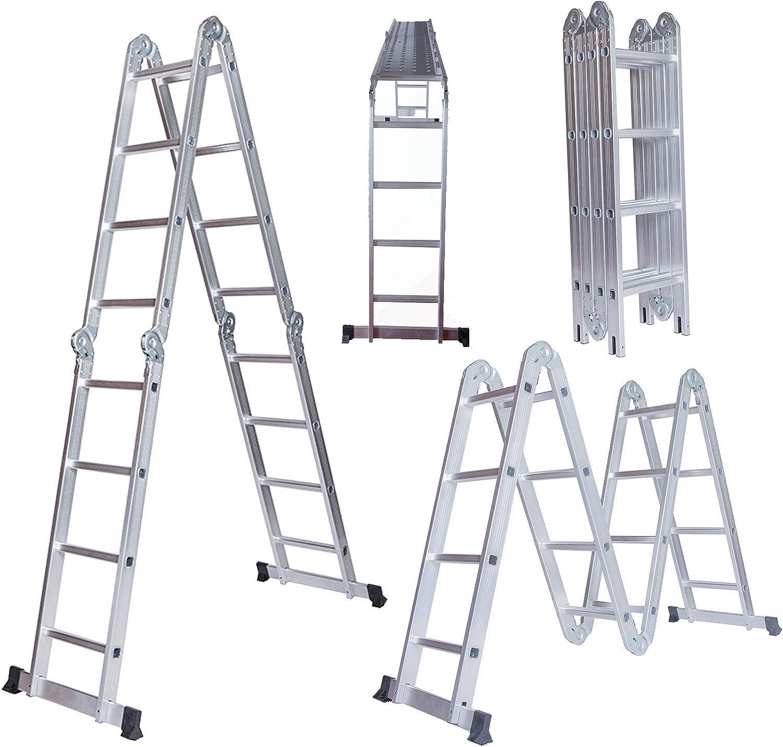 15,5 m aluminio escalera multiusos plegable telescópica extensión escalera andamio escaleras con plataforma de 2 platos: Amazon.es: Bricolaje y herramientas