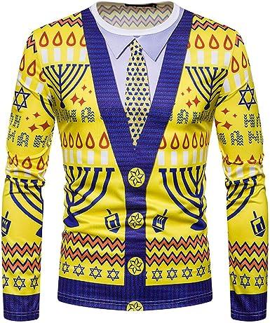 Overdose Camisa De LiquidacióN Hombres OtoñO Navidad Navidad ImpresióN Amarillo Top Hombres Camiseta De Manga Larga Blusa De Invierno: Amazon.es: Ropa y accesorios