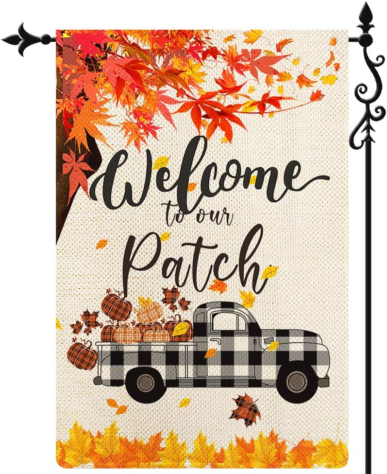 Coskaka Welcome to Our Patch Garden Flag,Pumpkin Truck Garden Flag Maple Leaf Vertical Double Sided Black White Buffalo Check Plaid Rustic Farmland Burlap Yard Lawn Outdoor Decor 12.5x18 Inch