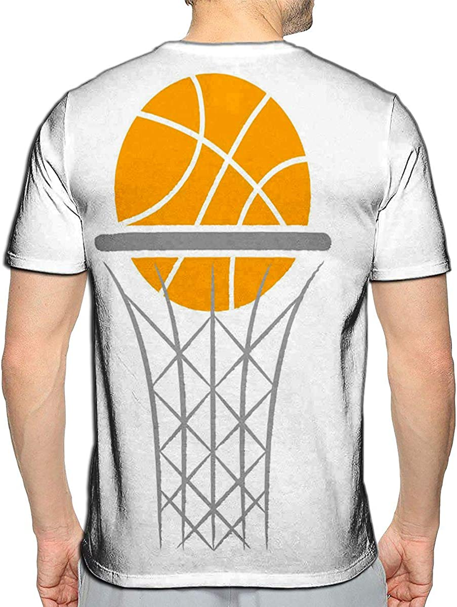 3D Printed T-Shirts Abstract Logo Game Basketball Flying Orange Ball Basket Short Sleeve Tops Tees