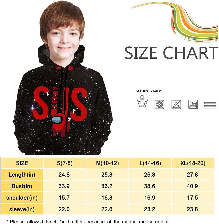 963 WSMXZDH Kid//Youth Sus Among Us Unisex Sweater Kids 3D Print Graphic Pullover Hoodie Sweatshirts Pocket 14-16 Years