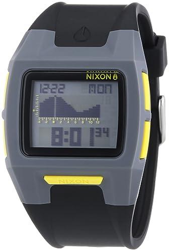 Nixon Lodown II Gray Black Yellow - Reloj de cuarzo para hombre, correa de plástico color negro: Amazon.es: Relojes