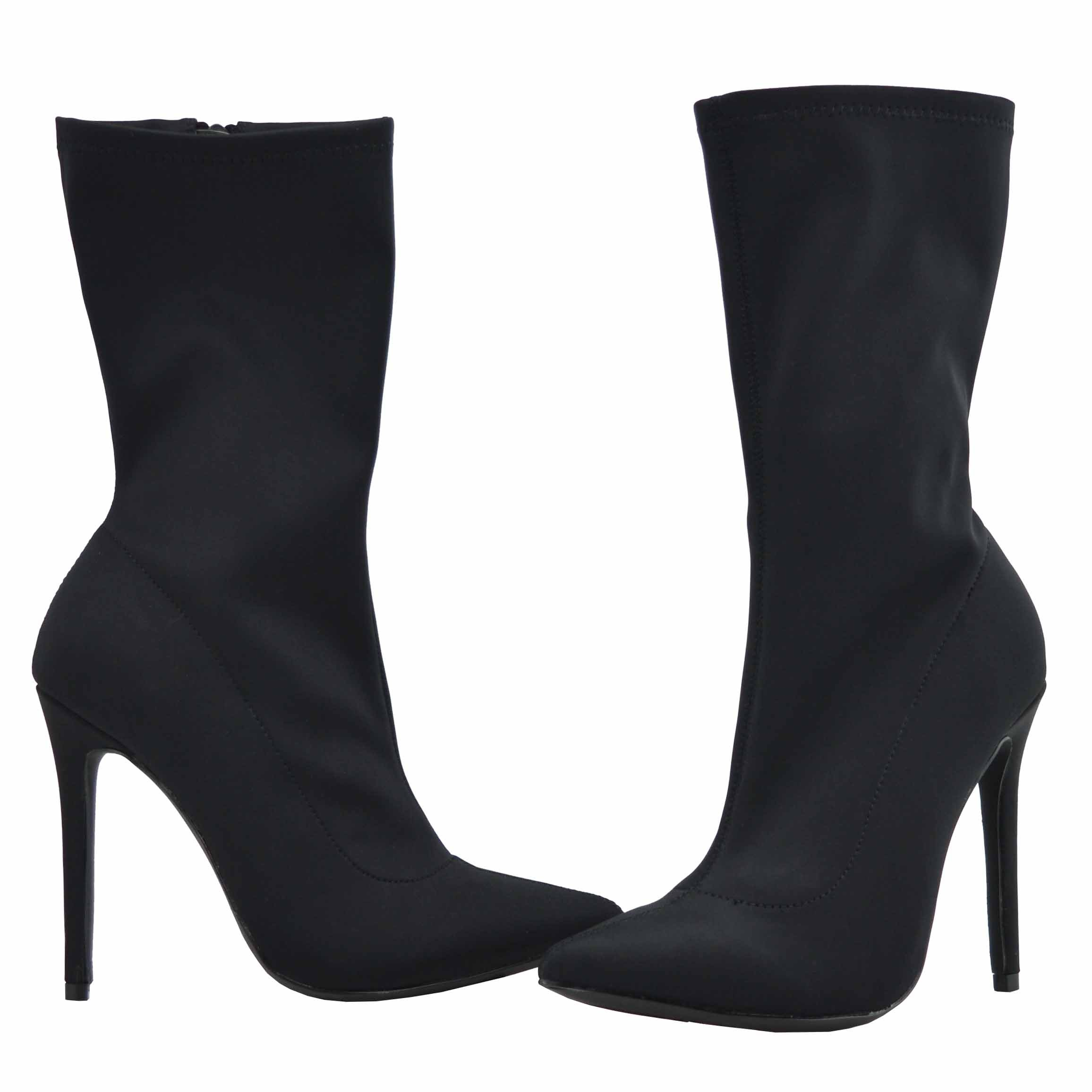 Olivia and Jaymes Women's Pointed Toe Ankle Booties Stretch Lycra Pull On Side Zipper Pencil Stiletto Heel Boots (9, Black) by Olivia and Jaymes (Image #2)