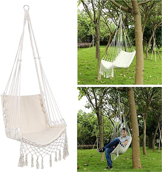 Swing Chair Blanco Hamaca Silla de Playa Cubierta Jardín Dormitorio Dormitorio Colgante por un niño Que Hace pivotar Adulto Individual Caja Hamaca: Amazon.es: Hogar