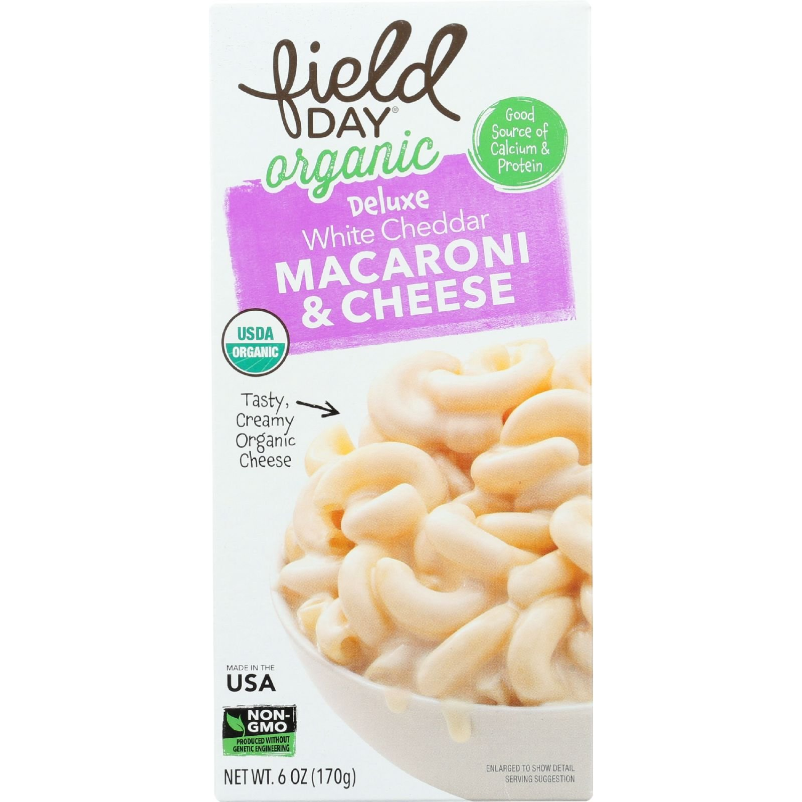 Field Day Macaroni and Cheese Organic Deluxe White Cheddar, 6 Ounce, 12 Count