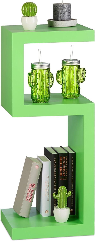 Relaxdays 10021914  /Étag/ère design r/étro vertical horizontal 3 surfaces 30 cm uni rangement d/éco HxlxP 75 x 30 x 30 cm blanc
