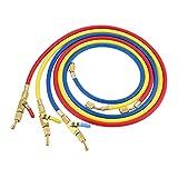 """3-Color 60"""" R410A HVAC Refrigerant Charging Hoses"""