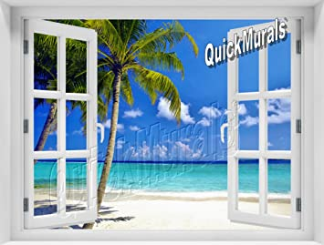 Peel And Stick Self Adhesive 3D Wall Mural 48inch Wide X 36inch High  Tropical Beach Ocean Part 21