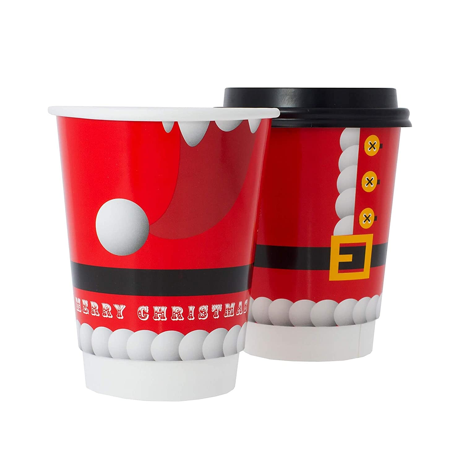 50 Double Wall 12oz Santa Disposable Christmas Cup with Lids Eco-Friendly