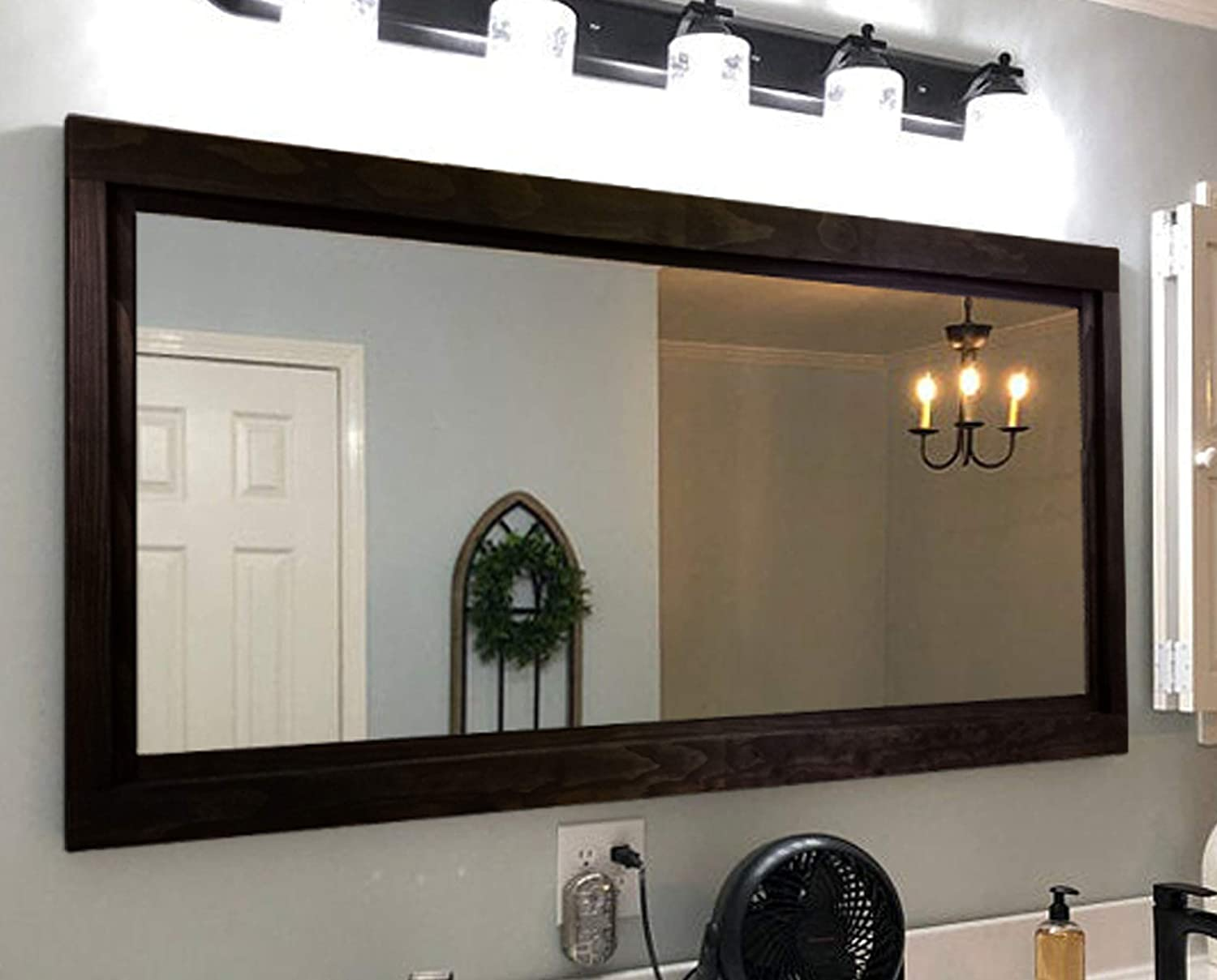 Farmhouse Framed Wall Mirror, 20 Stain Colors - Vanity Mirror, Rustic Home Decor, Double Vanity Mirror, Over Sink Mirror Wall Mount, Black Frame, Bathroom Mirror, Large Mirror