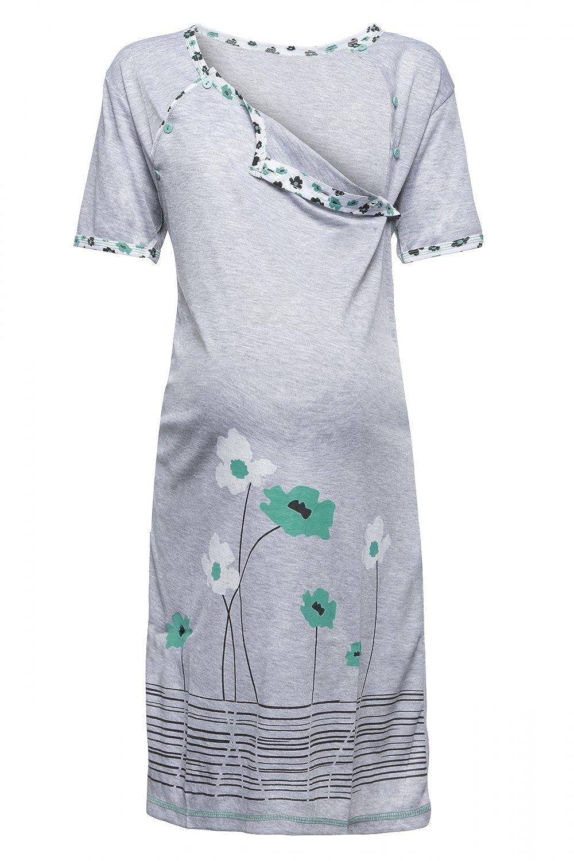 366p Happy Mama Damen Umstands-Nachthemd mit Stillfunktion Stillshirt Kurzarm
