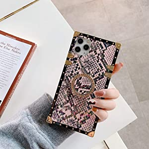 Square Snakeskin Phone case for iPhone 12 Pro Max with Ring Holder Stander Shockproof Luxury Back Covers Shell (Snakeskin Pink, iPhone 12 Pro Max 6.7'')