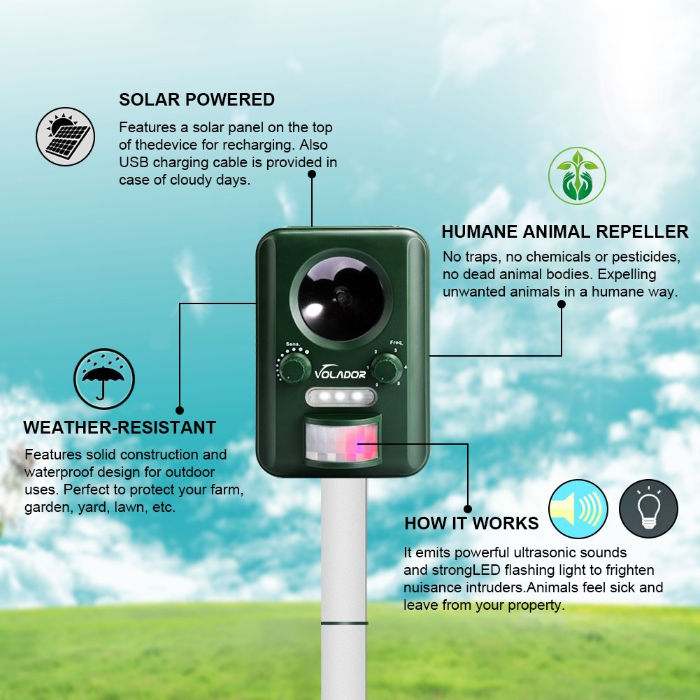 Volador Ultrasonic Cat Repeller Solar Powered Animal Scarer Outdoor Pest Control With Motion Sensor Dog Raccoon Mice Skunk Repellent