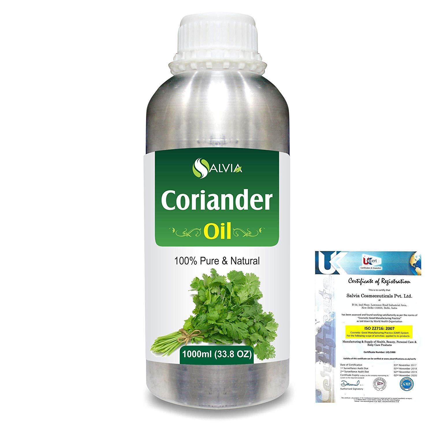 Coriander (Coriandrum sativum) Pure Natural Essential Aromatherapy Therapeutic Uncut Undiluted Oil 1000ml/33.8fl Express Shipping by Salvia (Image #1)