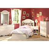 South Shore Summer Breeze Kids Bookcase Bed 4-Piece Bedroom Set, Twin, White Wash