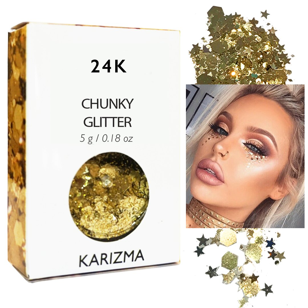 Gold Rockstar Chunky Glitter ✮ KARIZMA BEAUTY ✮ Festival Glitter Cosmetic Face Body Hair Nails