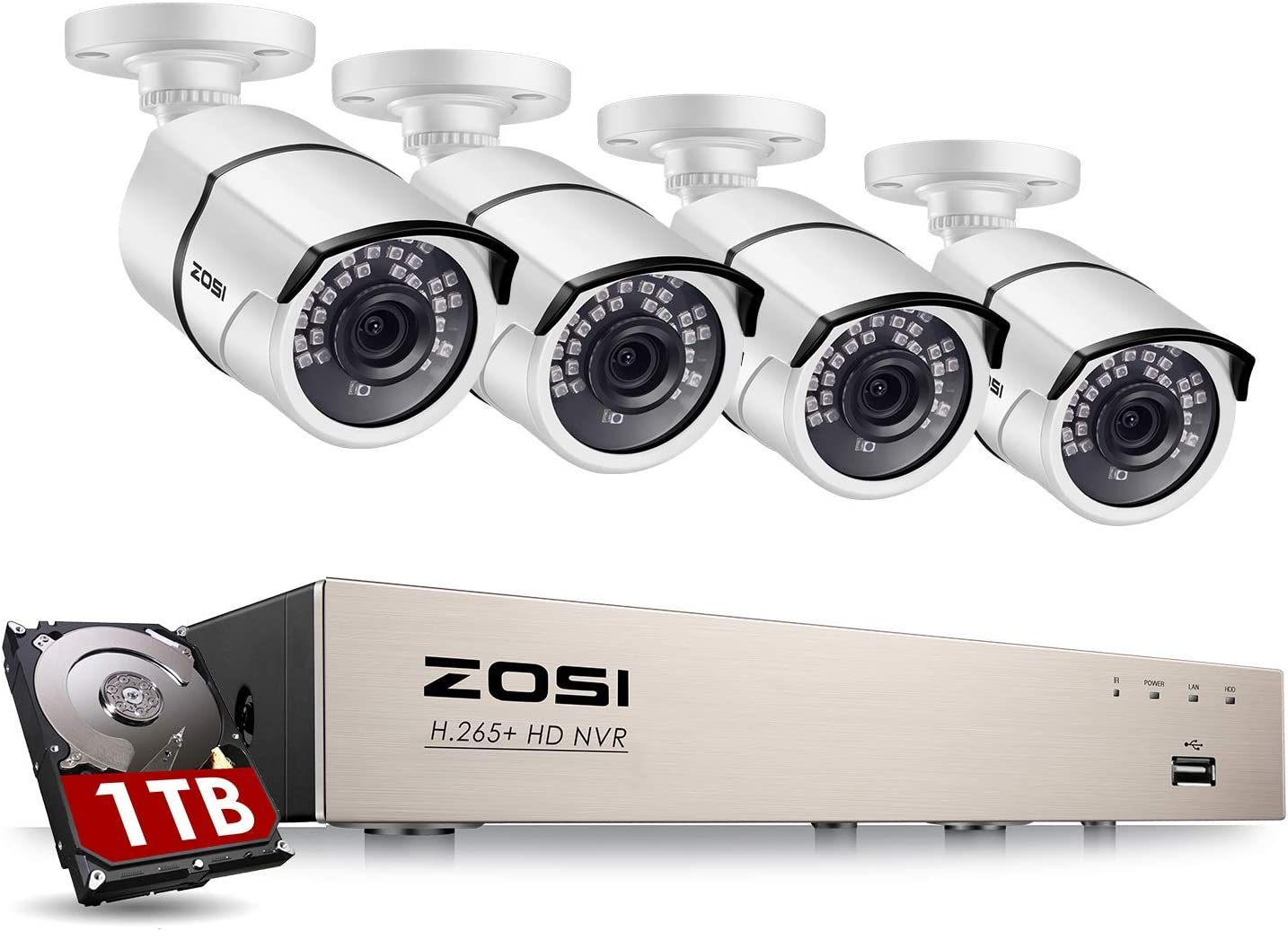 ZOSI 8CH 5MP Kit de Cámaras de Vigilancia PoE H.265+ PoE NVR + (4) Cámara de Seguridad Exterior + 1TB Disco Duro, 30M Visión Nocturna