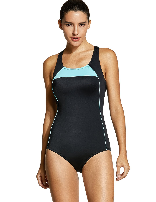 eb35648f7a1 SYROKAN Women s Athletic One Piece Swimwear Racing Plus Size Sports  Swimsuit Black 36 inch