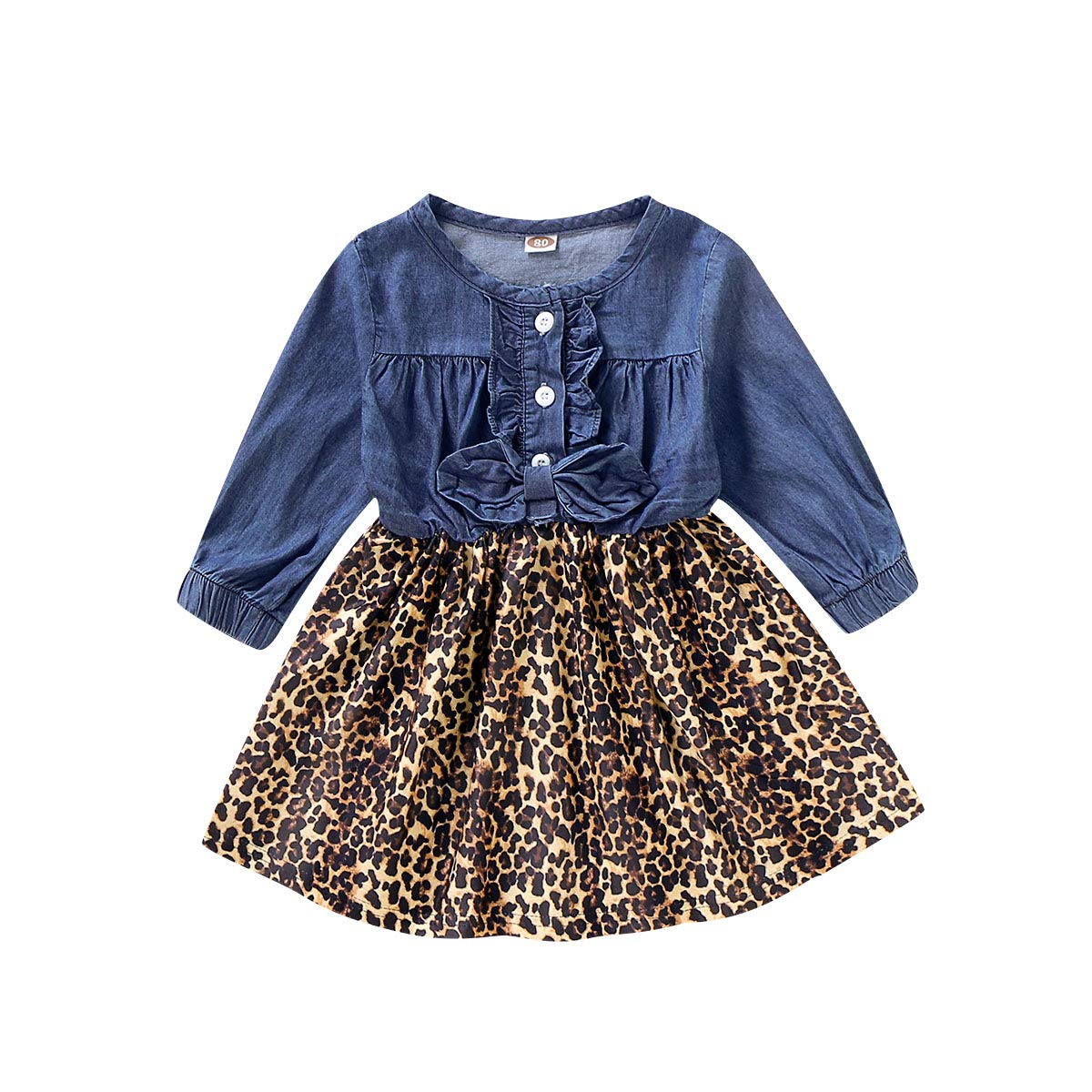 Baby Girl Clothes Party Dress Kids Denim Bowtie Leopard Splicing Sassy Dress Princess Overall Outfits Autumn
