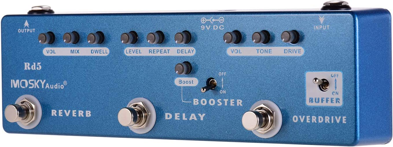 Muslady MOSKY RD5 5-en-1 Guitarra Pedal Multiefectos Reverb + Delay + Booster + Overdrive + Buffer Full Metal Shell con True Bypass
