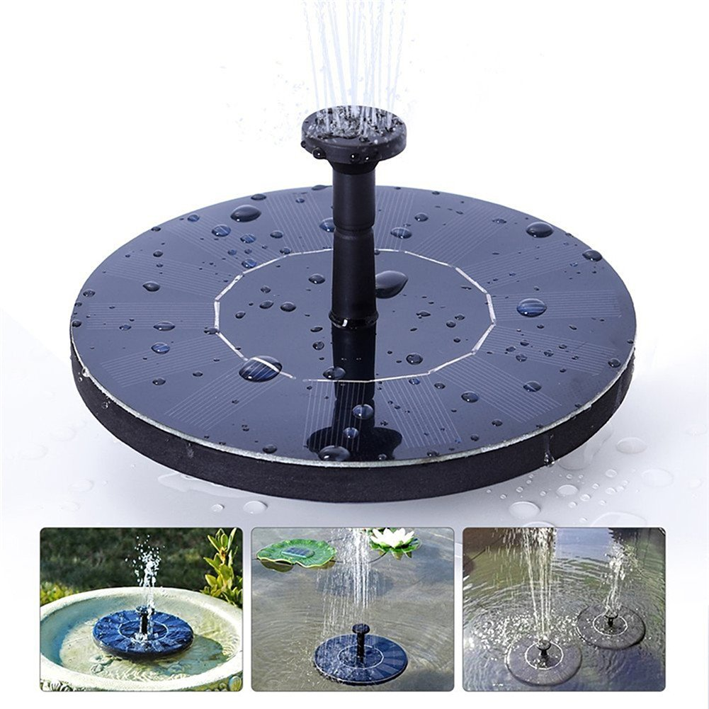 D.RoC Solar Fountain Pump Floating Water Pump with 4 Nozzles for Outdoor Bird Bath Fish Tank Garden Decoration(1.4W)