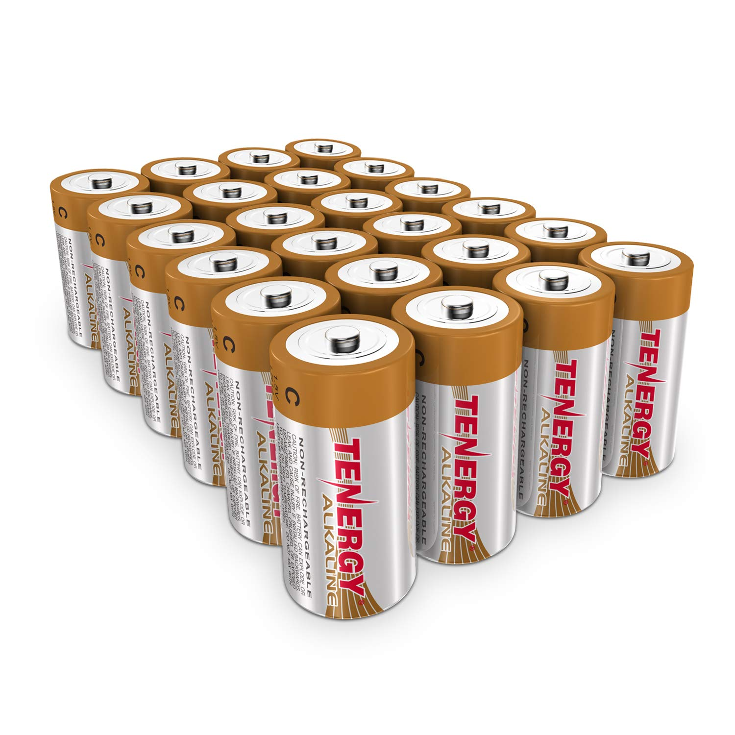 Tenergy 1.5V C Alkaline LR14 Battery, High Performance C Non-Rechargeable Batteries for Clocks, Remotes, Toys & Electronic Devices, Replacement C Cell Batteries, 24-Pack by Tenergy