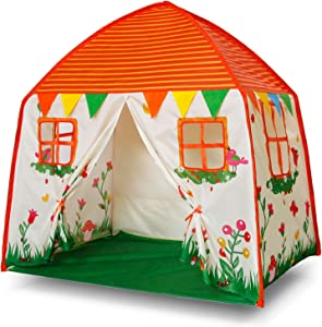 Homfu Kids Indoor and Outdoor Toy Tent Princess Prince Castle Children Play Tent and Portable Playhouse for Boys Girls Fun Plays … (Orange+Beige)