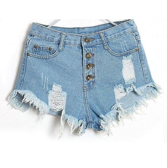 Vovotrade® Mujeres Vintage Jeans Cintura Alta Hole Short Jeans Denim Shorts (Tamaño 27/