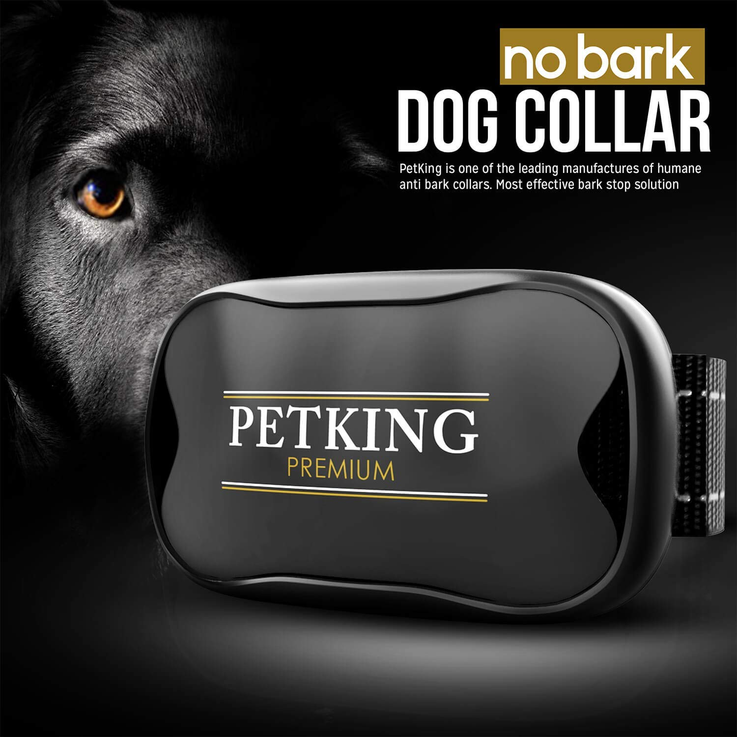 PETKING - Effective Anti Bark Dog Collar | Safe & Hummane No Barking Control Device to Stop Small Medium & Large Breeds | No Shock Spray or Aids | Best 2018 Anti-Barking Sound and Vibration Technology by PetKing Premium