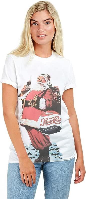 Pepsi Cola Merry Christmas Camiseta para Mujer: Amazon.es: Ropa y accesorios