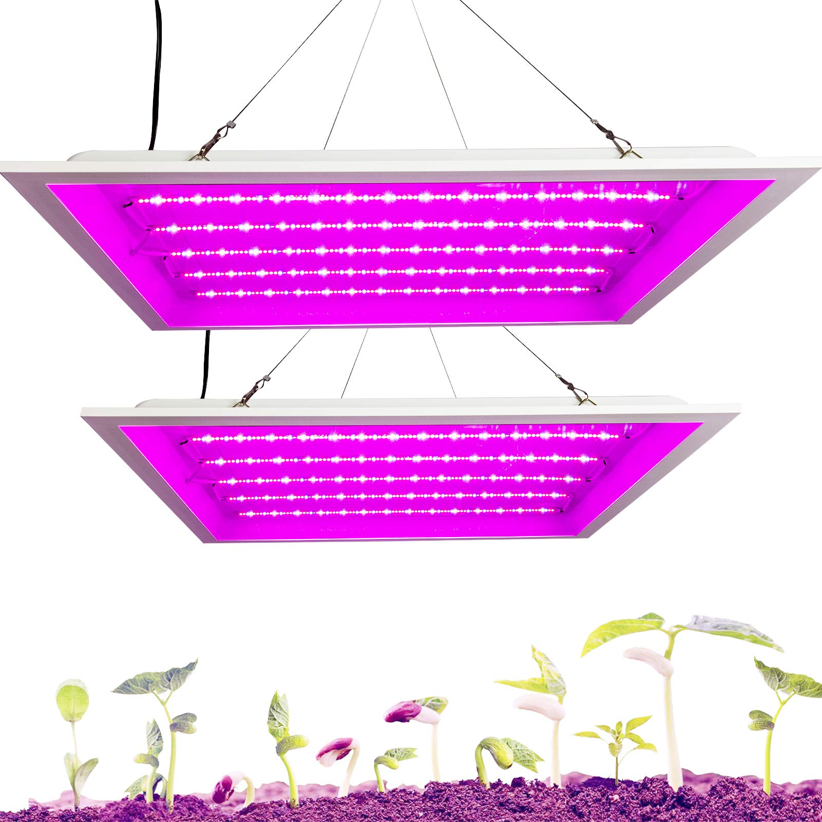Lightdot Grow Light 2X2ft Coverage LED Panel Plant Growing Light 48W 576 LEDs (R+B+W +UV IR) for Indoor Plant Growing (2 Pack)
