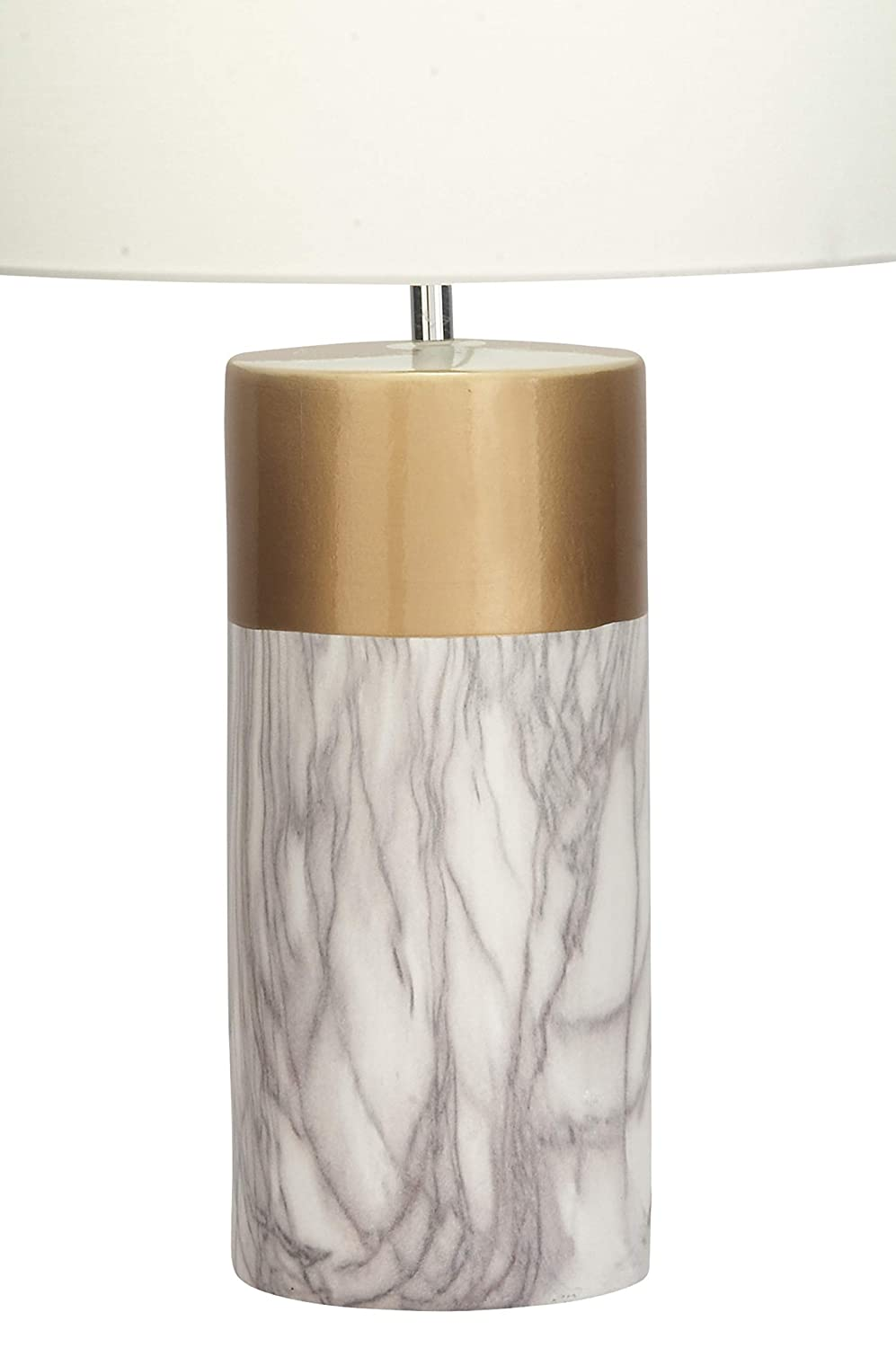 "15/"" x 24/"" Deco 79 60739 Large Cylinder-Shaped White Marble Table Lamp with Metallic Gold Trim /& White Drum Shade"