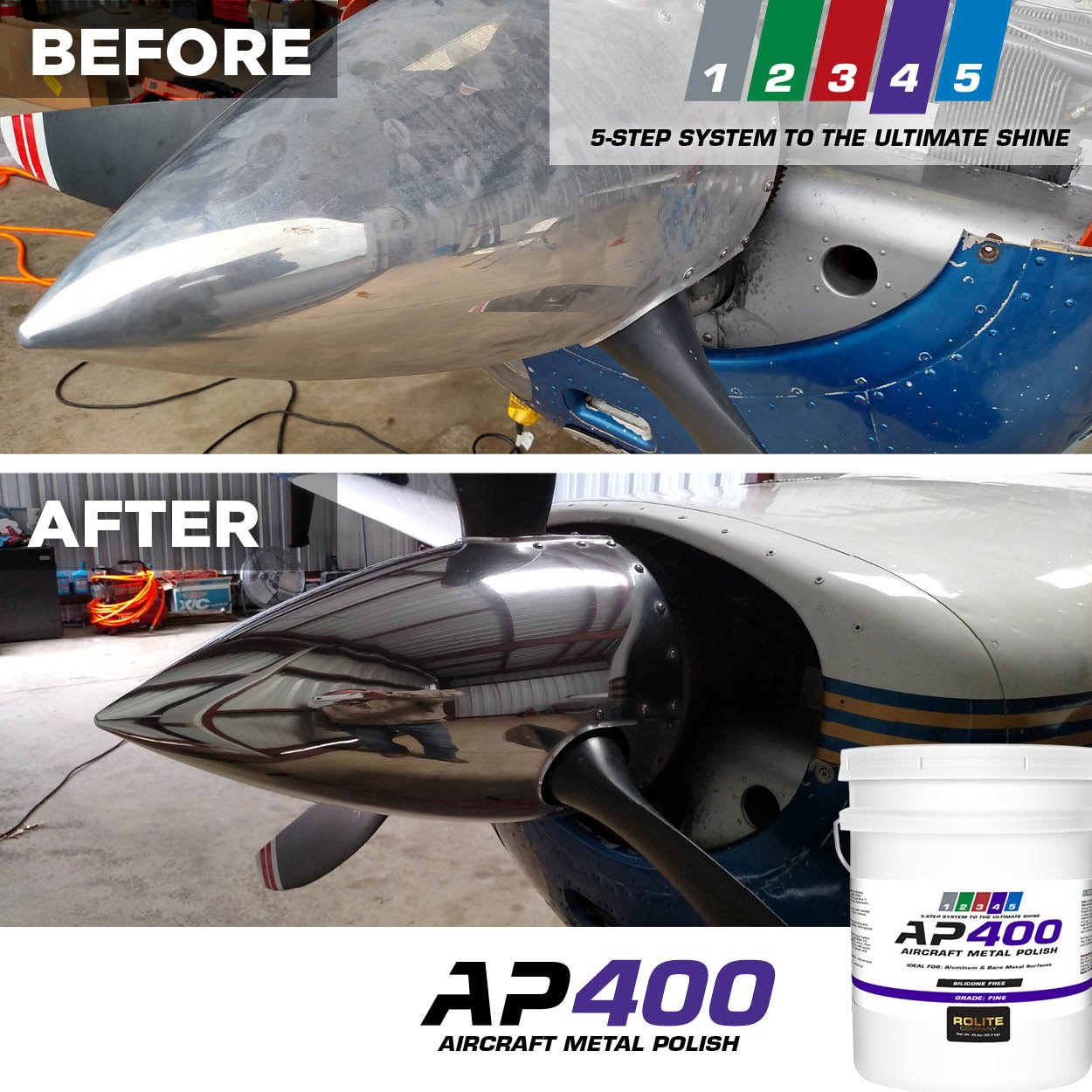 AP400 Aircraft Metal Polish (10lb) - Fine - for Airplane Aluminum & Bare Metal Surfaces, Brightwork, Meets Boeing & Airbus Requirements by Rolite (Image #5)