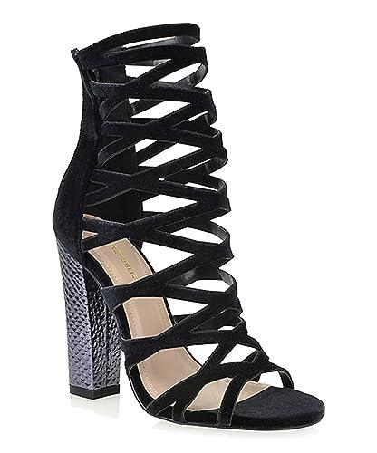 Shimmy Black Velvet Peep Toe Cage Chunky Shiny Block Heel Sandal